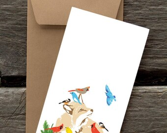 BFHOL134: Fox and Birds - 8 Blank flat cards and envelopes