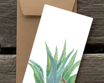 BF98: Agave and Flycatcher - 8 Blank flat cards and envelopes