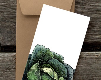 BF32: Cabbage  - 8 Blank flat notecards and envelopes
