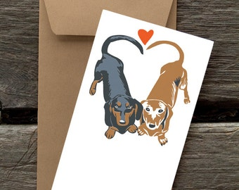 BF48: Dachshunds in Love - 8 Blank flat cards and envelopes