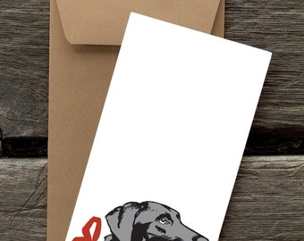 BF44: Black Lab with Ribbon - 8 Blank flat notecards and envelopes