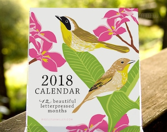SALE!! CAL18D: Birds & Gardens Letterpressed 2018 Desktop Calendar