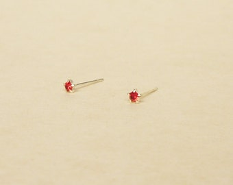 3 mm Teeny Tiny Red Crystal 925 Sterling Silver 5 Prongs Star Stud Earrings,Bridesmaid Gift,Hypoallergenic Earrings,Cartilage Earring