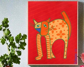 """Cat Lucy... painting, 9.1x12.2"""", 23x31 cm, pet, tiger, wall art, modern art, decoration, gouache, paper, animal, abstract, fantasy, unique"""