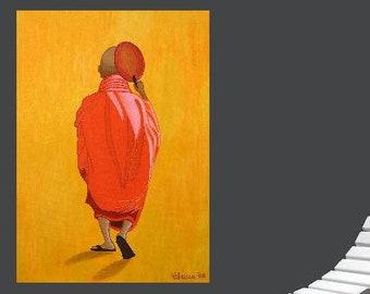 "Buddhist Monk... painting, 27.6x19.7"", 50x70 cm, asia, buddhism, religion, wall art, modern art, acrylics, framed canvas, original, handmade"