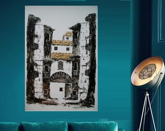 "Spanish Village 2 Escarilla... painting, 9.84x13.39"", 25x34 cm, Spain, Basque Country, wall art, modern art, vacation, ink, paper, original"