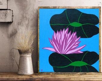 "Lotus Flower... painting, 11.8x11.8"", 30x30 cm, nature, pond, flora, wall art, modern art, acrylics, wood, ooak, original, unique, ooak"