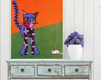 "Cat Frieda-the kitten... painting, 9.1x12.2"", 23x31 cm, pet, tiger, wall art, modern art, gouache, paper, animal, abstract, fantasy, unique"