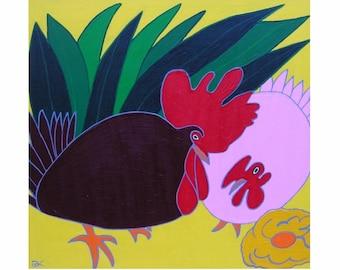 "Chicken Mishap... painting, 11.8x11.8"", 30x30 cm, animals, birds, wall art, modern art, painting, acrylics, framed canvas, ooak, handmade"
