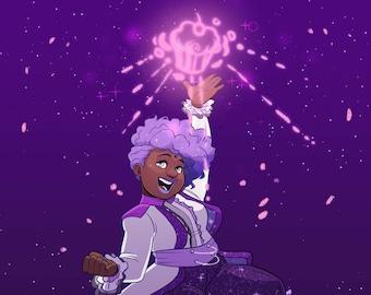 Galactic Purple: Cupcake Bomb!! Print