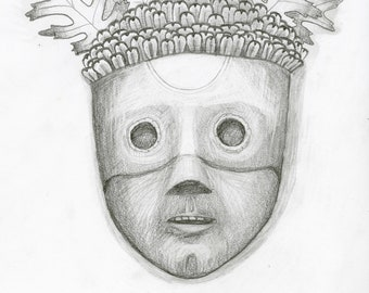 Mask of Acorn, Pine Corn, and Oak Leaves, original drawing