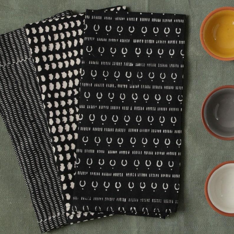 Table Napkin Cocktail Napkins Block Printed Cotton Dinner Napkin Set of 4