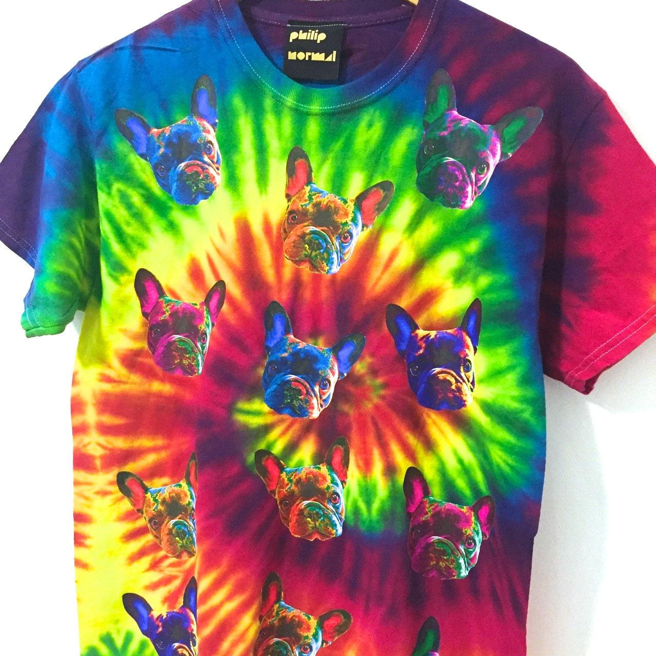 Arc Dye en ciel Tie Dye Arc T-Shirt Bulldog Français fd6024