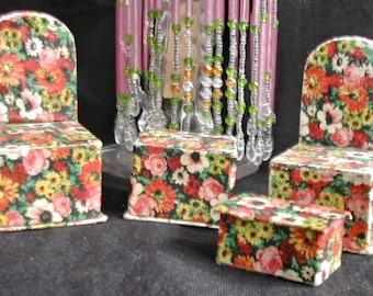 Art Deco Chintz Floral Miniature Furniture Chairs Ottoman Table Candy Boxes Containers & Chintz chair | Etsy
