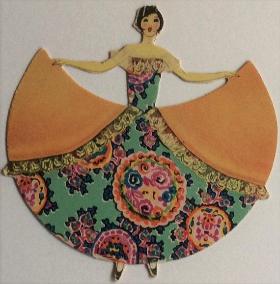 Vintage Art Deco Bridge Tally Dancer Woman Buzza