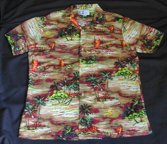 Men's Vintage Cotton Hawaiian Shirt Palm Trees Haw