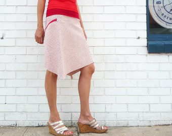 Thought Hemp Organic Cotton Thin Stripes Dress Knee Length Short Sleeve Pockets