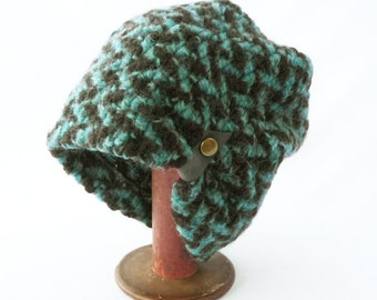 Women's Winter Slouchy Hat in Light Blue and Brown Chunky Chevron Knit