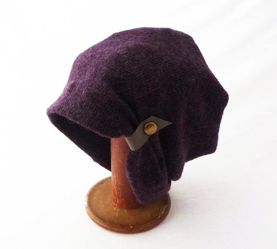8c037a352 Deep Purple Knit Wool Blend Slouchy Hat : Women's Winter Beanie