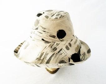 Womens Sunhat, Summer Hat, Beach Hat, Natural, Gray, Black, Cotton Hat, Travel Hat, Packable, Gift 4 Her, Cloche Brim, Stylish, Splatter Dot