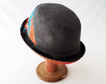 Fedora, Black Linen, Orange Turquoise Print, Men's Hat, Women's Hat, Everyday Hat, Summer Style, Gift 4 Him, Musician Hat, Bucket Hat, Cool