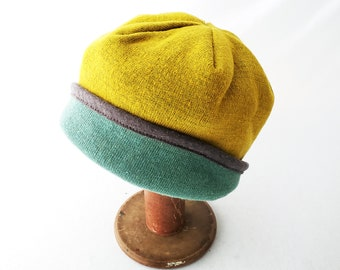 Women's Knit Hat in Yellow Gold and Robin's Egg Blue with Gray Accent, Slouchy Hat, Stylish Beanie, Fall Look, Winter Style, Cloche, Comfy