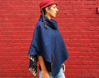 Women's Denim Cape, Cotton Ikat Lining, Dark Blue Denim, Red Green Cream, Magnet Snap Collar, Spring Style, Boho Poncho, Comfy Streetwear