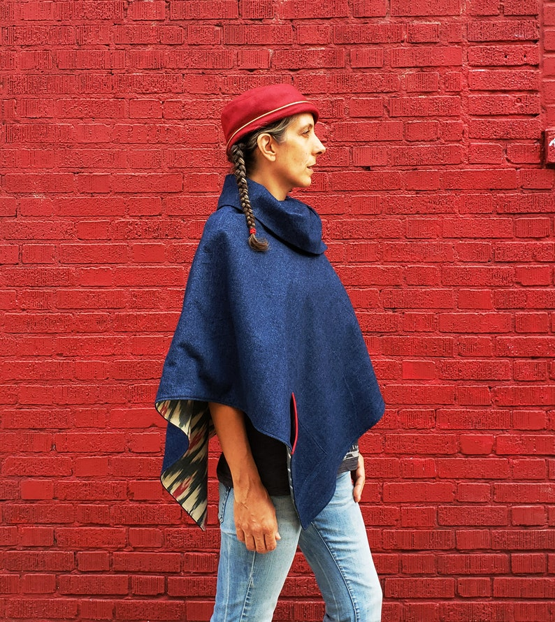 Women's Denim Cape Cotton Ikat Lining Dark Blue Denim image 0