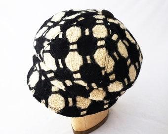 Womens Hat, Wool Newsboy, Black and White, Geometric Pattern, Woven Wool, Winter Hat, Stylish Cap, Messy Hair Day, Cute Hat, Mod, Soccer