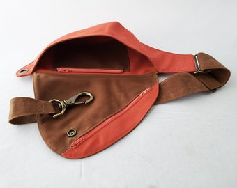 Fanny Pack in Waxed Canvas and Water Resistant Cotton, Field Tan, Salmon Pink, Belt Bag