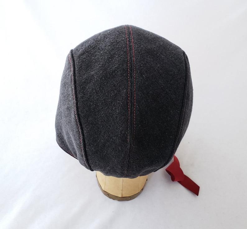 Winter Cycling Cap Warm Vegan Hat Black Upcycled Denim Aviator Hat with Gray Fleece Lining