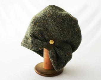 Slouchy Beanie in Olive Green Wool Sweater Knit Fleece with Flecks of Color, Warm Winter Hat, Cozy Hat