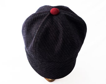 Womens Newsboy Hat, Pinstripe Suiting Wool, Charcoal Gray, Cranberry and Rust, Cute Cap, Everyday Hat, Gift 4 Her, Spring Look, Three Season