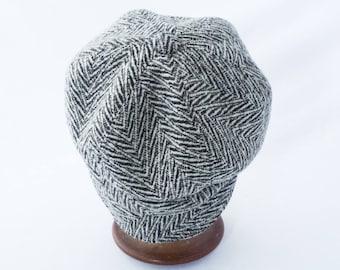 Newsboy Hat, Women's Hat, Black and White, Zebra, Herringbone Wool,Best Fall Hat, Cloche Brim, Cute Hat, Gift for Her, Cap, Chapeau, Mod