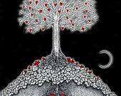 Night at the Great Tree - print of original heart illustration by seth.