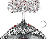 The Great Tree - print of original heart drawing by seth