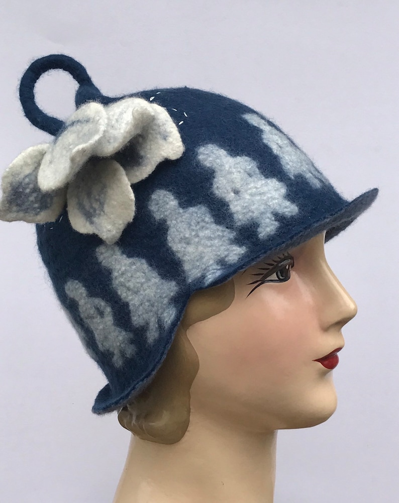 Size Medium Hand felted Merino wool cloche Hat Paper dolls