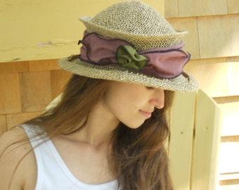 Straw Travel Hat - Seagrass - Organic Jersey Band - Claret - Suitcase Sally
