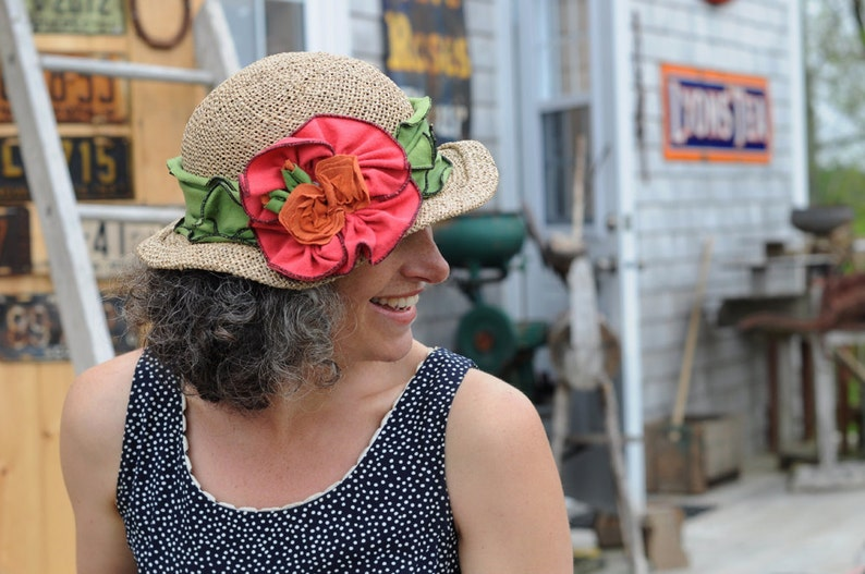 Seagrass Straw Hat  Organic Jersey Band and Flowers  Green image 0