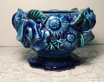 Vintage 1960s Inarco Blue Floral Planter