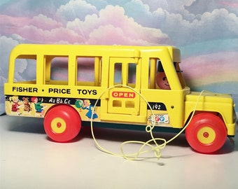 Vintage Fisher Price Bus Pull Toy