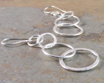 Sterling Silver, Fine Silver,  Hammered Ring Earrings, Sterling Earrings, Dangle Earrings, Handmade, Handcrafted, Sterling Silver Jewelry