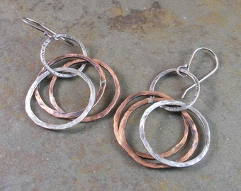Copper and Sterling Silver Circle Earrings