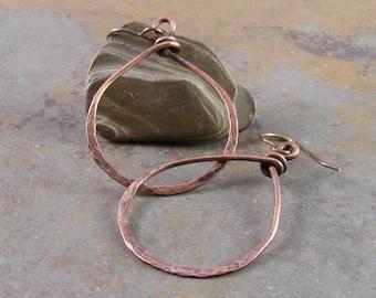 Organic Teardrop Copper Earrings