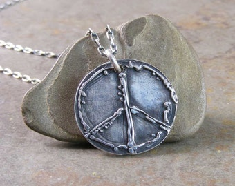 Custom Design Sterling Silver Peace Sign Necklace