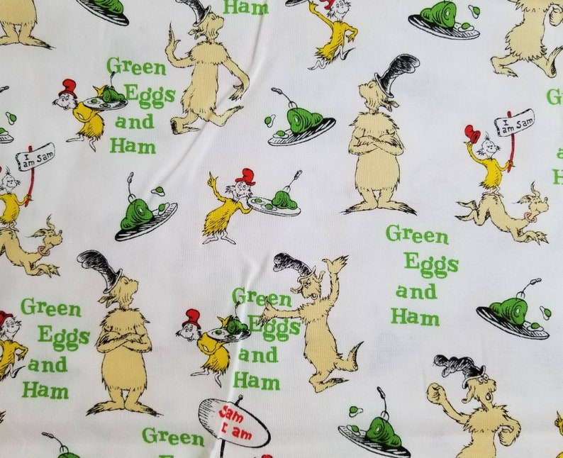 Green Eggs and Ham Reusable Fabric Face Covering with Filter Pocket