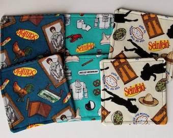 It's About Nothing   Set of 6 Reversible Fabric Coasters