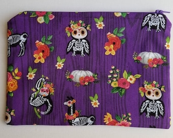 Dia de los Muertos Animal Style   Lined Zippered Fabric Pouch
