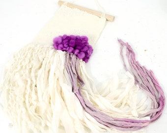 purple rain   .. wall hanging, weave, woven, wall art, wall decor, nursery art decor, home, living wall art,