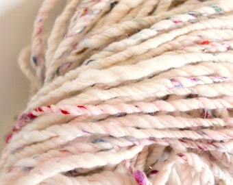 3ply bare with sari silk and sparkles .. handspun art yarn, soft wool, merino home spun, undyed, bulky yarn, white knitting